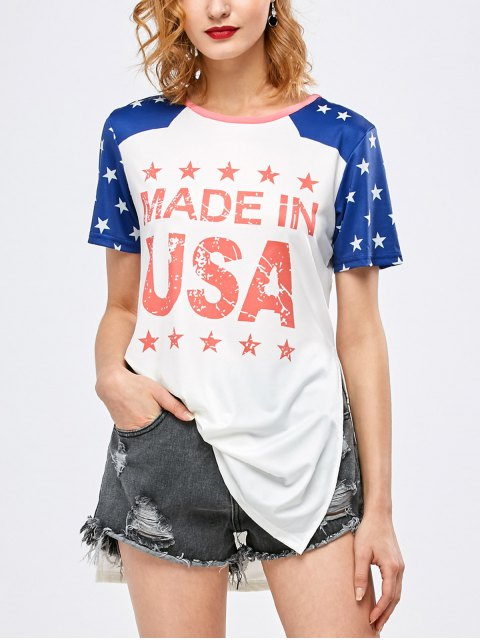 lady Side Slit Graphic Star Tunic T-Shirt - WHITE M Mobile