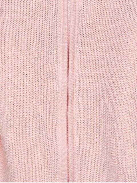 latest Chunky Back Zipper Sweater - LIGHT PINK 2XL Mobile