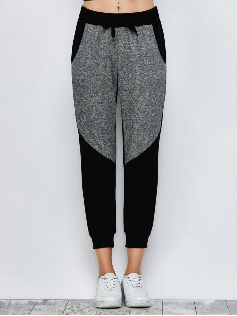 unique Color Block Heathered Sporty Pants - BLACK L Mobile