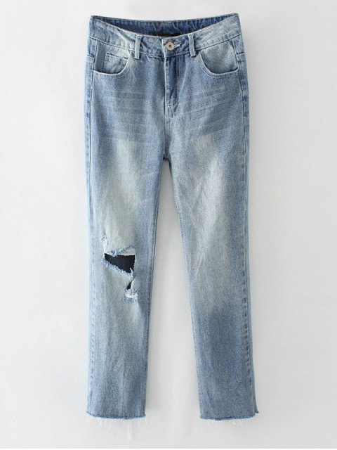 women's Ripped Narrow Feet Pencil Jeans - BLUE GRAY M Mobile