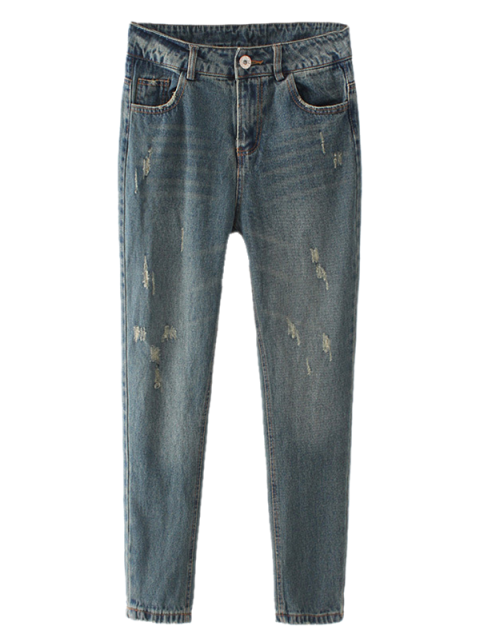 lady Frayed Broken Hole Pencil Jeans - BLUE GRAY L Mobile