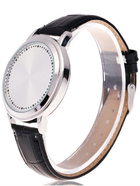 trendy Faux Leather LED Watch - WHITE  Mobile