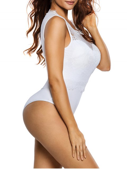 buy Lace Panel Low Back Bodysuit - WHITE L Mobile