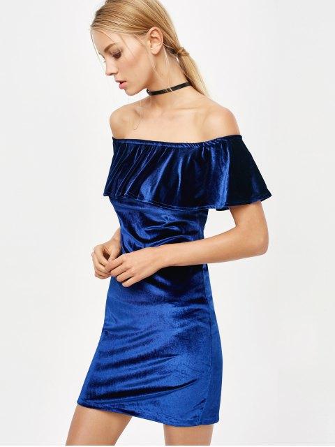 unique Off The Shoulder Velvet Bodycon Dress - ROYAL S Mobile