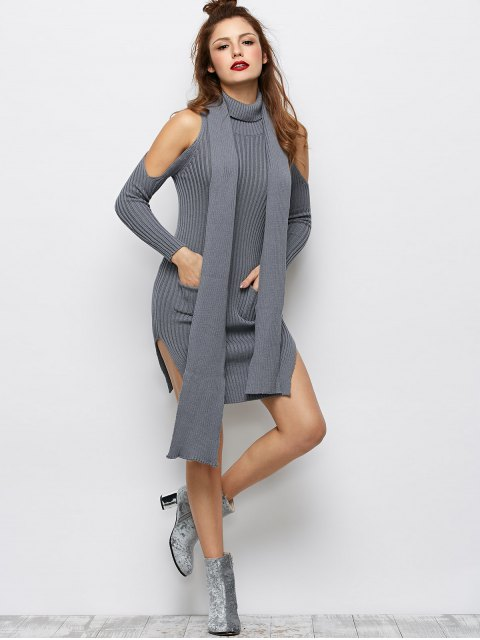 shop Slit Cold Shoulder Sweater Dress - GRAY L Mobile