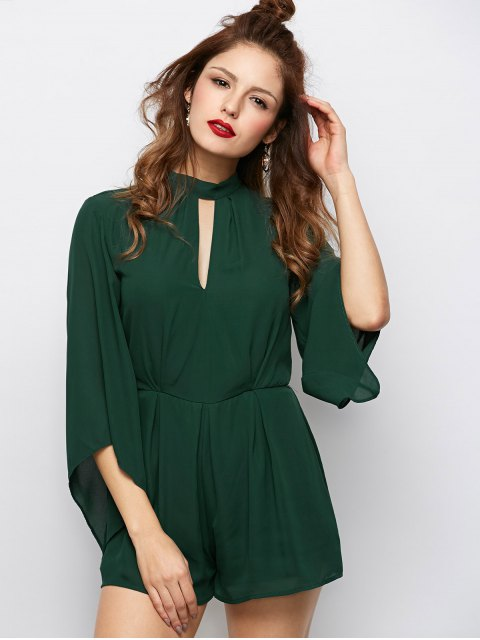 buy Cut Out Stand Neck Tied Romper - ARMY GREEN 2XL Mobile