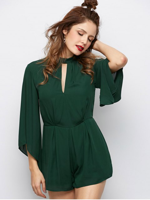 womens Cut Out Stand Neck Tied Romper - ARMY GREEN XL Mobile