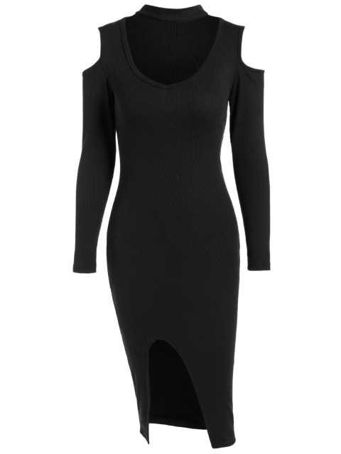 sale Cold Shoulder Choker Bodycon Dress - BLACK ONE SIZE Mobile