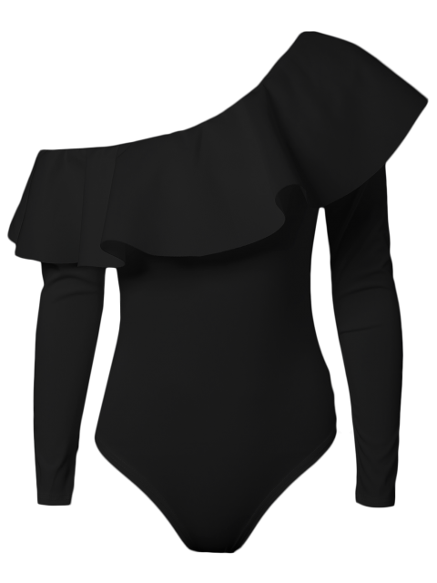 buy Ruffles Long Sleeve Skinny Bodysuit - BLACK S Mobile