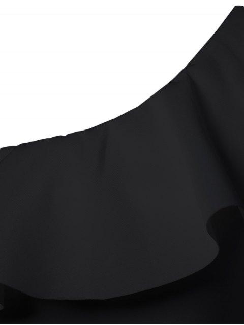 sale Ruffles Long Sleeve Skinny Bodysuit - BLACK L Mobile