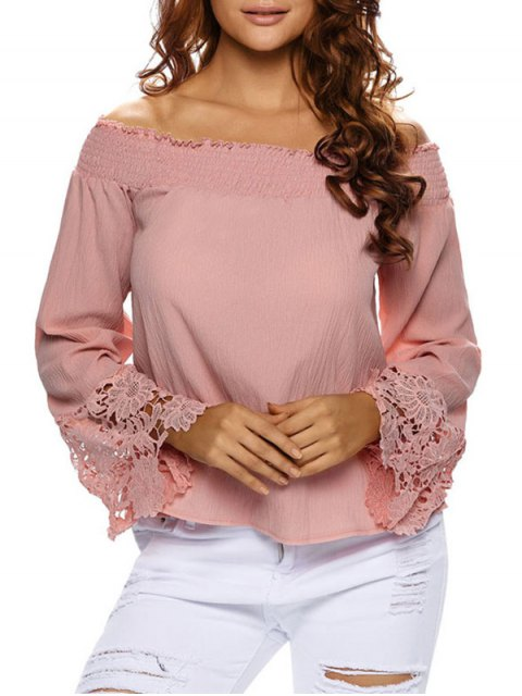 chic Lace Cuff Off The Shoulder Blouse -   Mobile