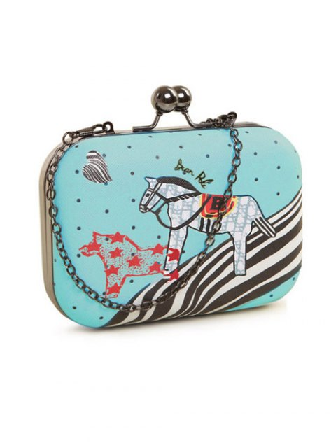 affordable Polka Dot Cartoon Horse Print Evening Bag - LIGHT GREEN  Mobile