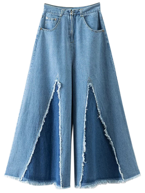 outfits High Rise Frayed Culotte Jeans - DENIM BLUE S Mobile