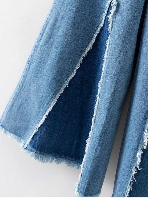 hot High Rise Frayed Culotte Jeans - DENIM BLUE L Mobile