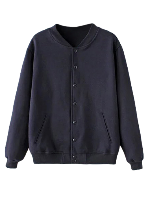 outfit Button Up Baseball Jacket - PURPLISH BLUE L Mobile