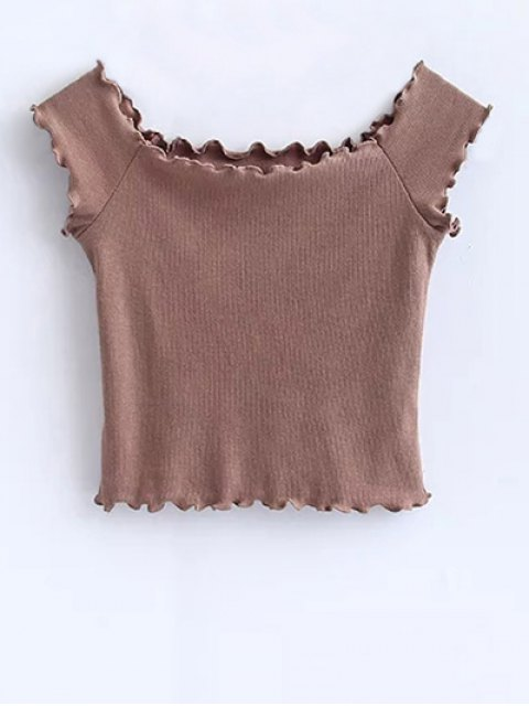 ladies Off Shoulder Ruffles Crop Top - KHAKI M Mobile