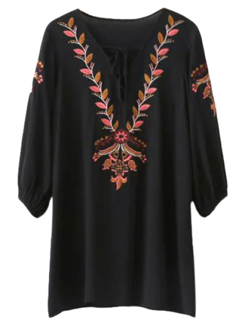 fashion Embroidered Lace Up  Mini Tunic Dress - BLACK S Mobile
