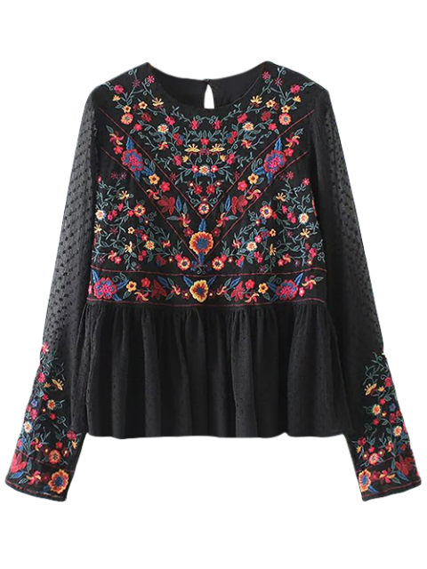 best Embroidered Floral Flounce Blouse - BLACK S Mobile