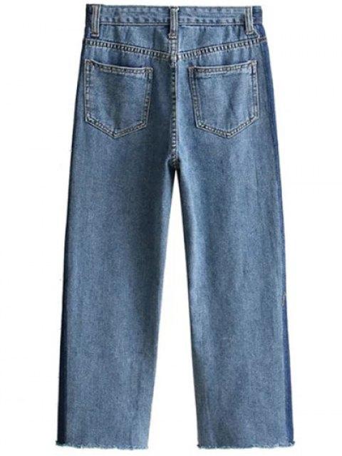 sale Frayed Mom Fit Jeans - DENIM BLUE M Mobile