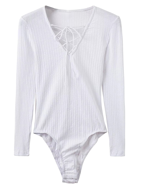 buy Skinny Ribbed Lace Up Bodysuit - WHITE M Mobile