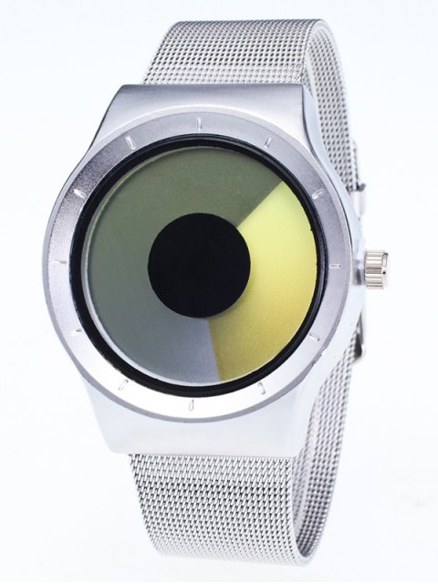 fashion Metal Mesh Ombre Quartz Watch - YELLOW  Mobile