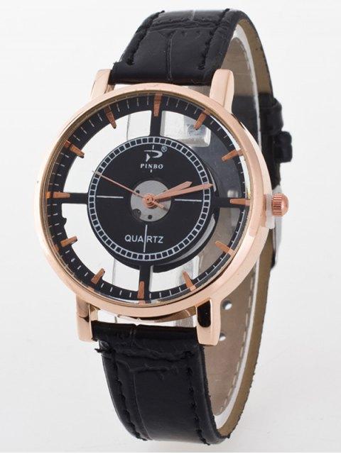 ladies See-Through Quartz Watch - BLACK  Mobile