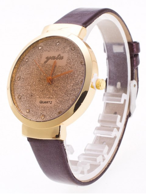shop Rhinestone Glitter Quartz Watch - COFFEE  Mobile