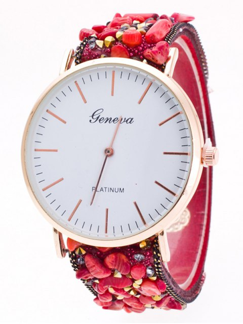 sale Faux Stone Studded Analog Watch - RED  Mobile