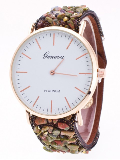 buy Faux Stone Studded Analog Watch - COFFEE  Mobile