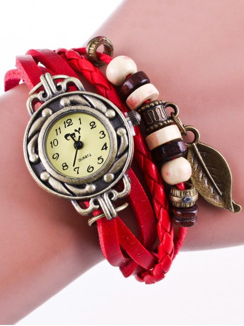 ladies Faux Leather Strand Bracelet Watch - RED  Mobile