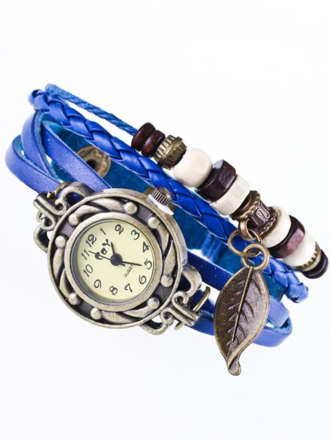 lady Faux Leather Strand Bracelet Watch - BLUE  Mobile
