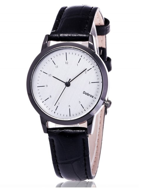 trendy Faux Leather Analog Wrist Watch - WHITE AND BLACK  Mobile