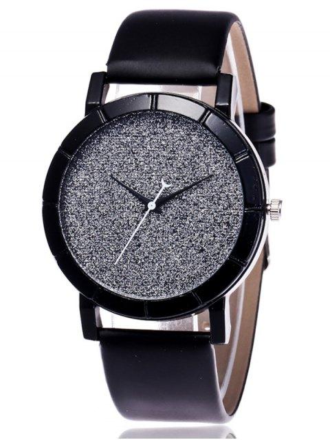 fashion Faux Leather Glitter Analog Watch - BLACK  Mobile