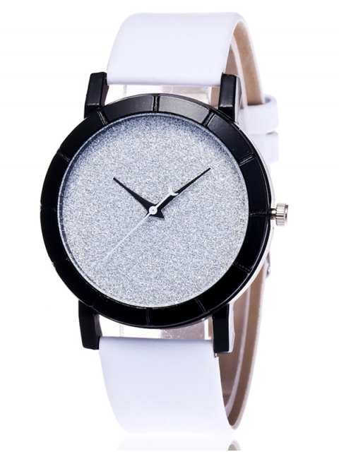 chic Faux Leather Glitter Analog Watch - WHITE  Mobile