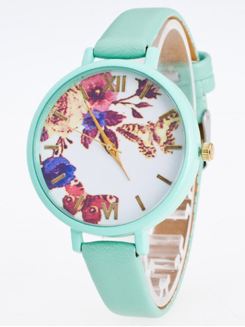 lady Faux Leather Flower Butterfly Watch - MINT GREEN  Mobile