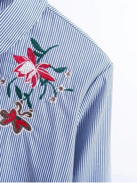 buy Flare Sleeve Embroidered Striped Shirt - STRIPE M Mobile
