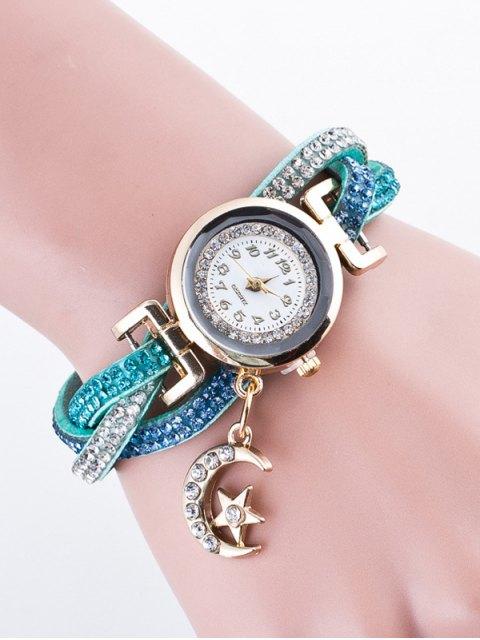 outfit Rhinestone Studded Bracelet Watch - LIGHT BLUE  Mobile