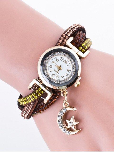 outfits Rhinestone Studded Bracelet Watch - COFFEE  Mobile