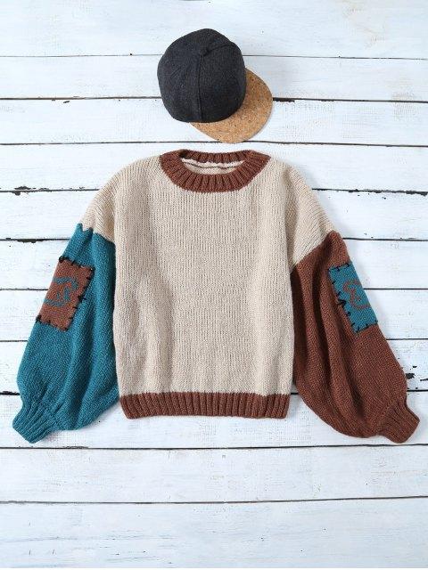 fashion Patched Slash Neck Color Block Sweater - KHAKI ONE SIZE Mobile