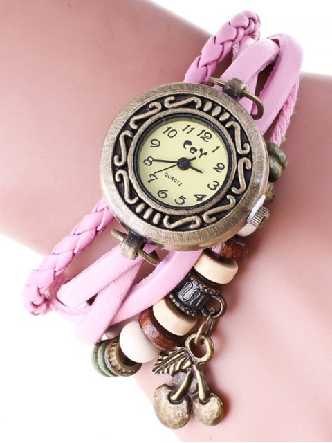 sale Braided Strand Bracelet Watch - PINK  Mobile