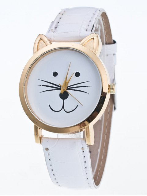 new Faux Leather Cartoon Cat Watch - WHITE  Mobile