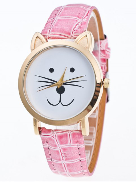 hot Faux Leather Cartoon Cat Watch - PINK  Mobile