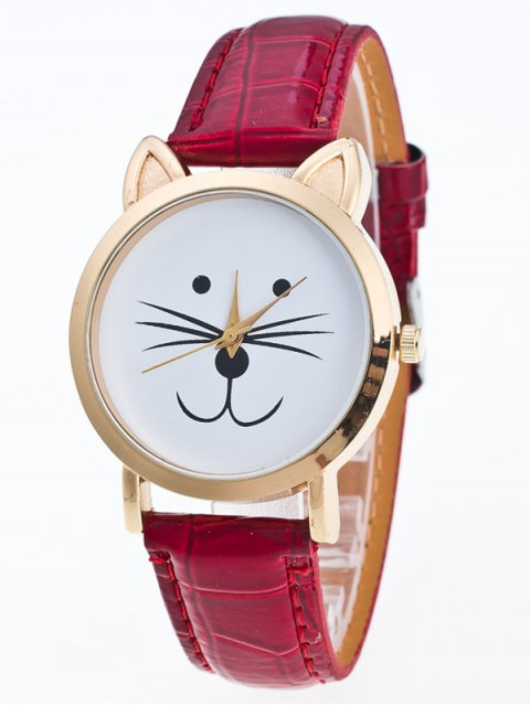 outfit Faux Leather Cartoon Cat Watch - RED  Mobile