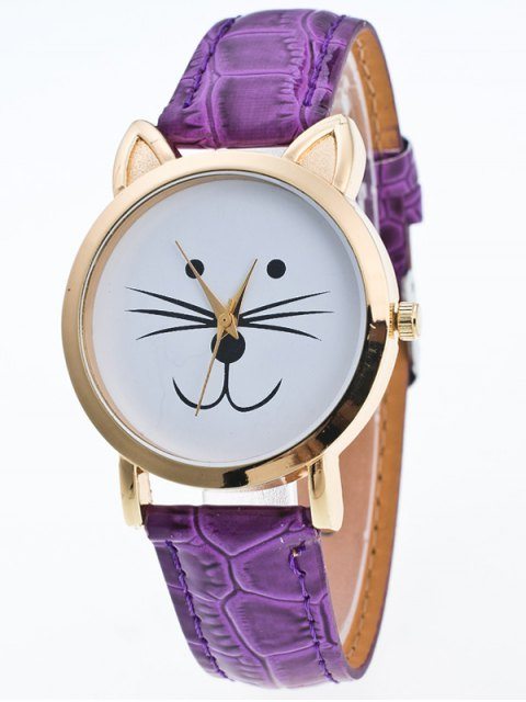 latest Faux Leather Cartoon Cat Watch - PURPLE  Mobile