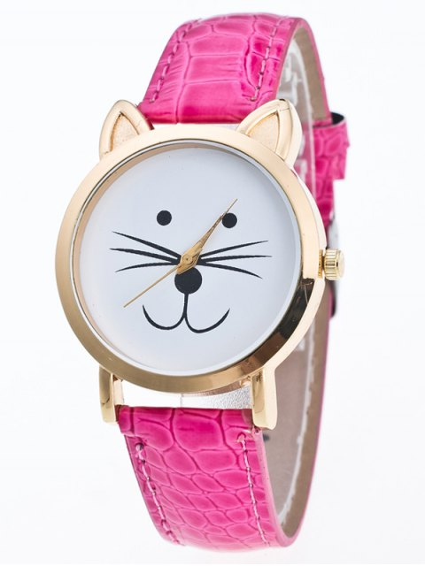 fashion Faux Leather Cartoon Cat Watch - TUTTI FRUTTI  Mobile