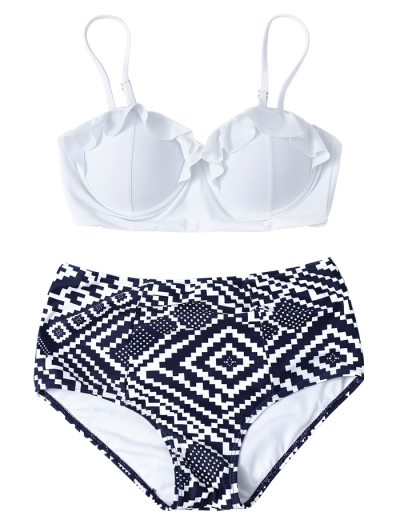 Geo High Waisted Underwired Bikini - BLUE AND WHITE S Mobile