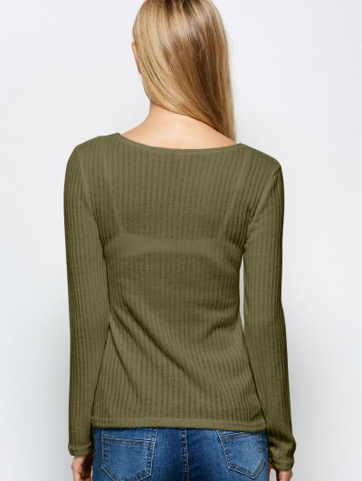 Ribbed Knit Lace Up Jumper - ARMY GREEN L Mobile