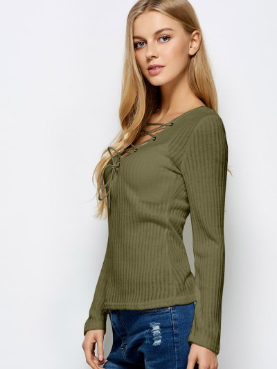 Ribbed Knit Lace Up Jumper - ARMY GREEN S Mobile