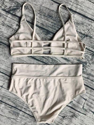 Unlined High Waist Bikini Set - APRICOT M Mobile