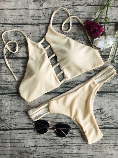 String Cut Out Bikini Set - APRICOT L Mobile